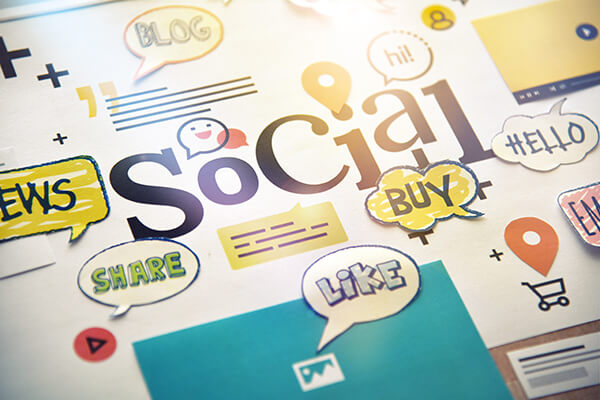 Social media concept. Concept for website and mobile banner, int